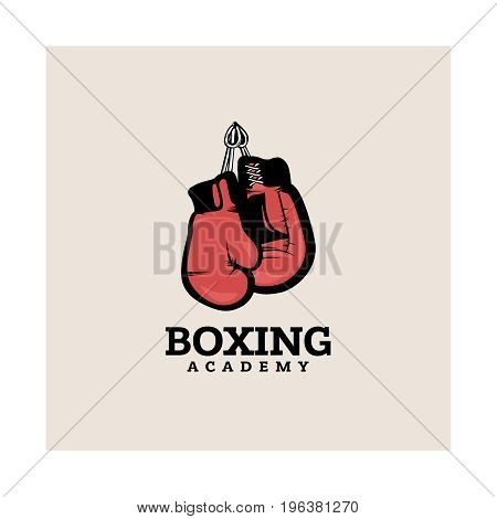 Boxing logotype template with hanging boxing gloves.