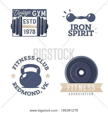 Fitness logotypes templates in retro styles. Vintage design for a gym logotype. Fitness club badges in old school style. Retro gym labels.