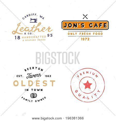 Four vintage logo templates. Tavern, leather goods, premium quality themed logotypes.