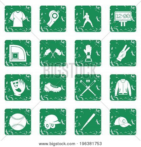 Baseball icons set in grunge style green isolated vector illustration