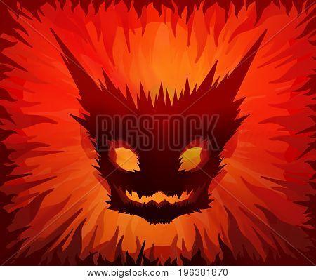 Inferno devil mask monster Halloween cartoon color light 3d illustration horizontal