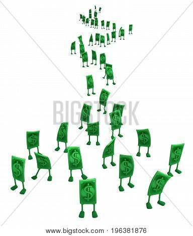Dollar money symbol cartoon characters queue 3d illustration horizontal isolated over white