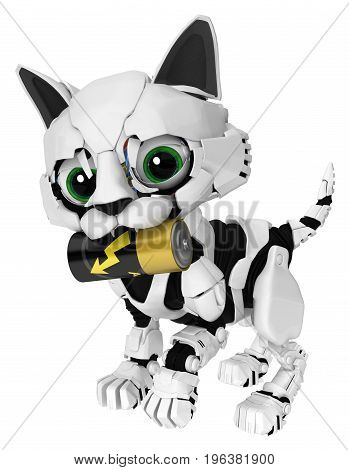 Robotic kitten energy battery carry 3d illustration horizontal isolated