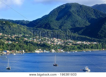 Harbor and Resorts in Morning Light on St Thomas Hills