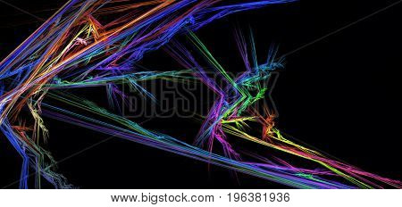 Neon light angle colored abstract horizontal over black background