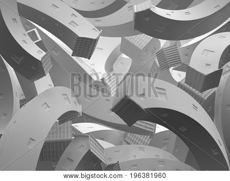 Tall white cottages group surreal bending abstract 3d illustration horizontal