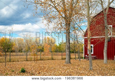An old red barn in an autumn landscape