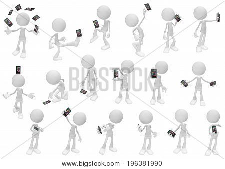 White symbolic figures action pose sequence with smartphone 3d illustration horizontal isolated