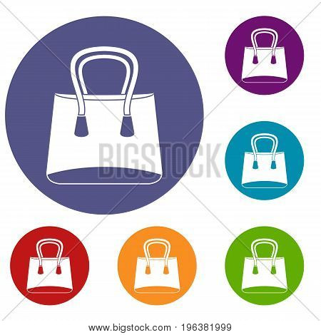 Small woman bag icons set in flat circle red, blue and green color for web
