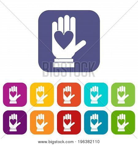 Hand with heart icons set vector illustration in flat style in colors red, blue, green, and other