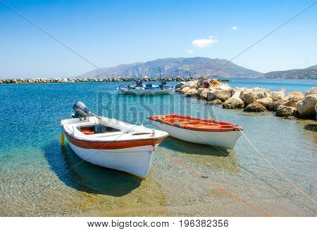 small fisher boats at the harbour of Skyros island Greece