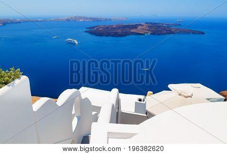 Greece, Santorini island, caldera view with cruise ship on sea