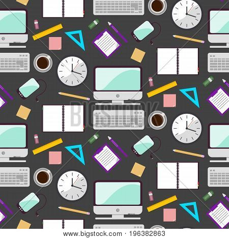 Vector illustration of seamless pattern background with school supplies. Pen pencil ruler paper brush textbook notebook in flat design style.