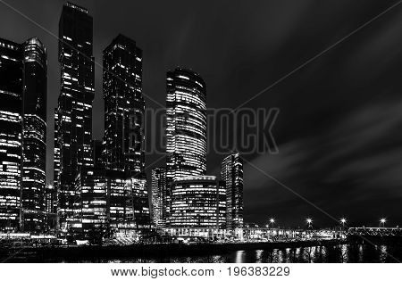 Concept black and white photo of midtown