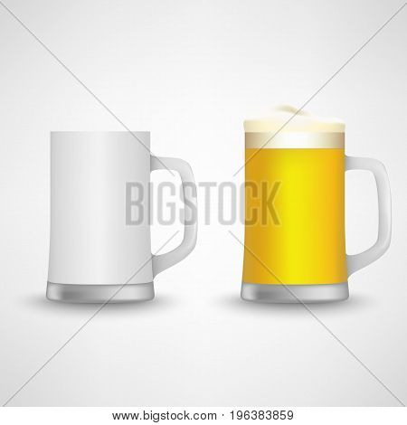 Beer glass empty and full design template vector eps 10