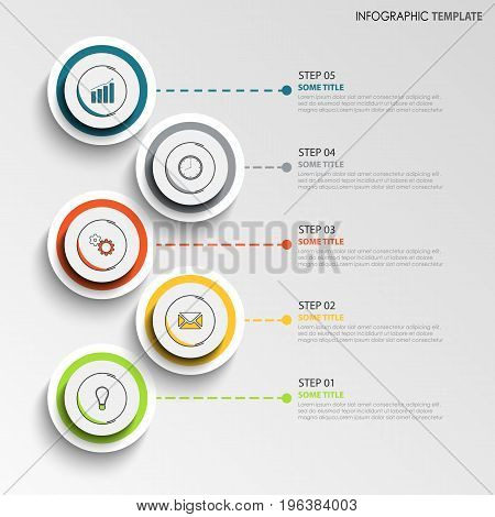 Info graphic with abstract design round labels template vector eps 10
