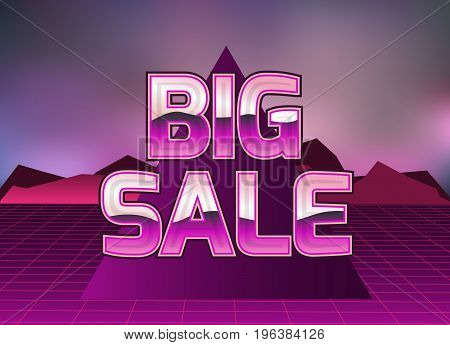 Sale banner in the style of the eighties.Vector illustration.