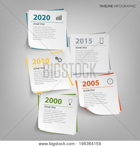 Time line info graphic with abstract note paper template vector eps 10