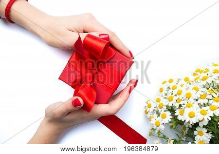 Female Holding A Red Present Box