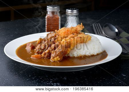 Rice With Deep Fried Shrimp And Curry.