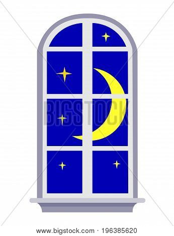 Night moon window isolated on white for your design.