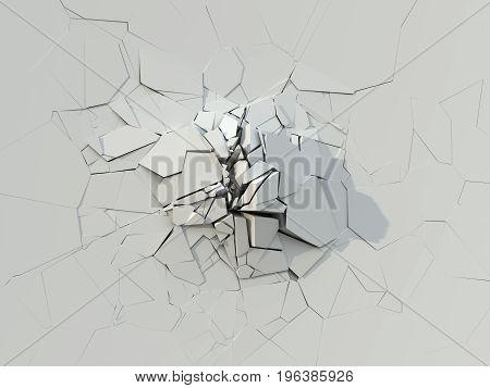 Destruction Of The White Concrete Wall. 3D Illustration.