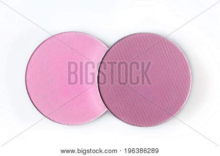 round pink eye shadow  isolated on the white background