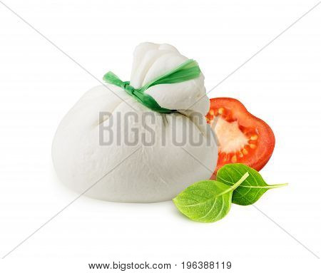 Burrata cheese with tomato and basil leaves isolated on white background with clipping path. Fresh italian cheese made from mozzarella and cream.