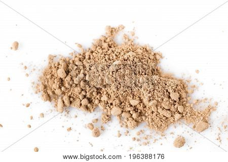 Beige powder for face isolated on the white background