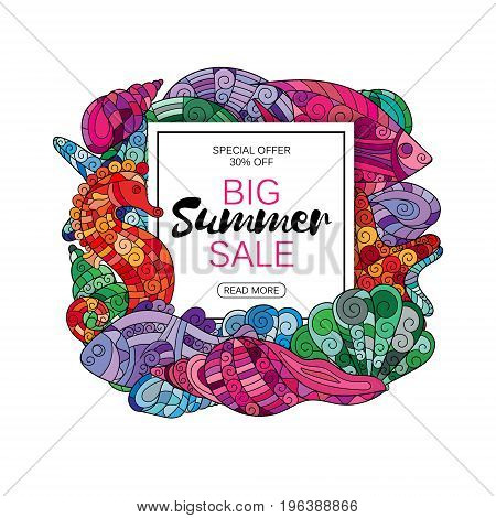 Summer sale background with hand drawing zentangle marine life. Vector