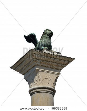 Saint Mark Lion ancient bronze statue at the top of the medieval column erected in 1172. Symbol of the old Republic of Venice (isolated on white background)