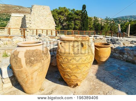 Clay jars at the Palace of Knossos, Crete, Greece. Knossos Palace is the largest Bronze Age archaeological site on Crete and is considered Europe's oldest city,