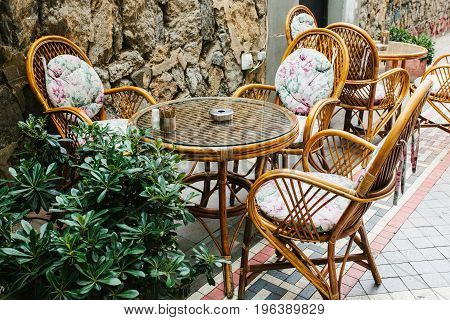 Cozy street cafe in Istanbul, Turkey. Chairs and table.