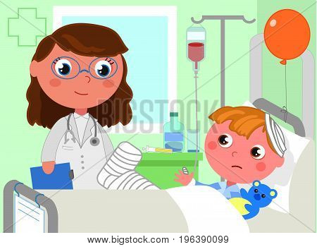 Doctor and sick boy in bed hospital vector