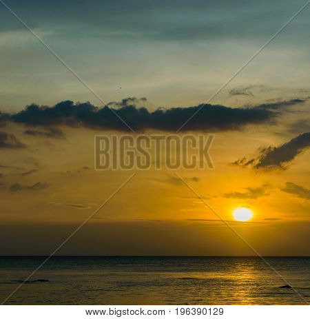 Scenic Sunset Seascape On Tropical Beach In Sihanoukville