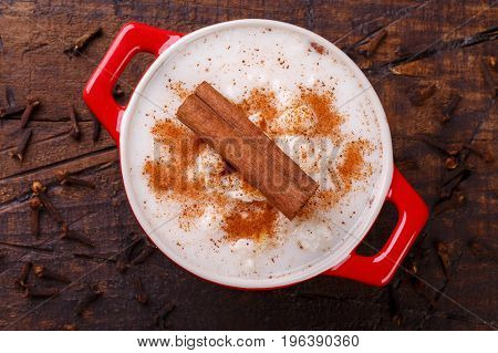Brazilian Dessert Canjica Of White Corn With Cinnamon