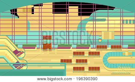 Background of hall at airport illustration rasterized