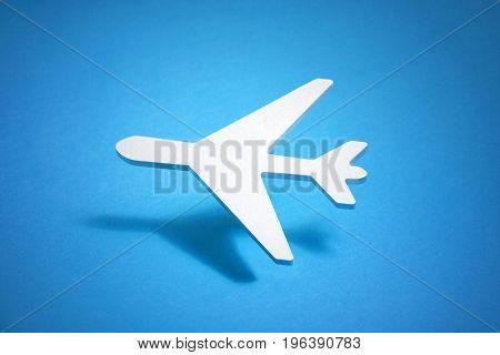 3D illustration of airplane over blue background