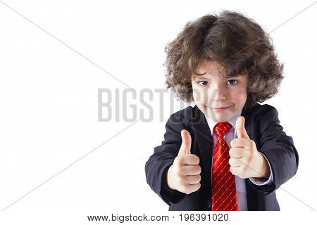 Cute curly little boy stretched out his arms forward and showing gesture