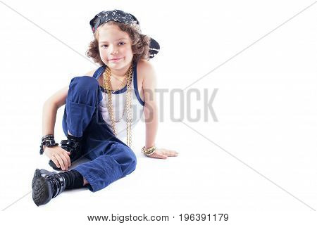 Funny Kinky Rapper Sitting On The Floor, Bending Your Right Leg And Looking Into The Camera. White B