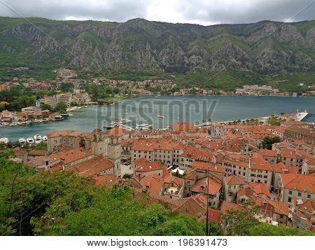 Panoramic view of Kotor Old City along the shore of Kotor Bay, Kotor, Montenegro