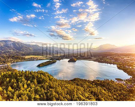 View of lake Faaker See in Carinthia Austria