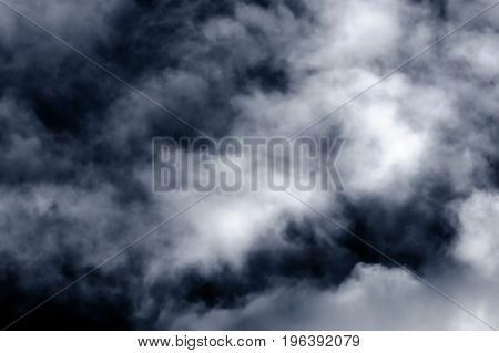 Fluffy white clouds on blue sky, background, close-up