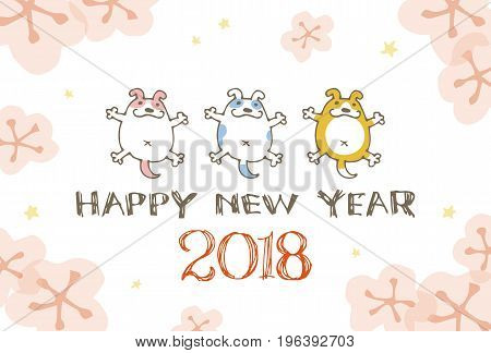 New Year card with dog illustration for year 2018