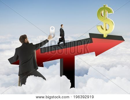 Abstract image of businessman winding up worker walking on red arrow scales with golden dollar sign on sky background. Finance concept. 3D Rendering