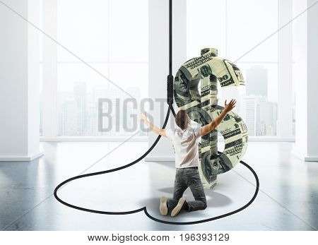 Worshipping man inside abstract dollar sign trap in interior with city view and daylight. 3D Rendering