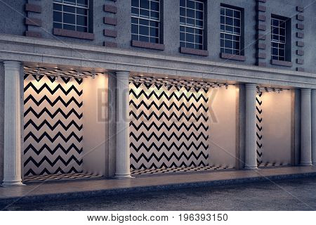 Blank Zigzag Storefront At Night Side