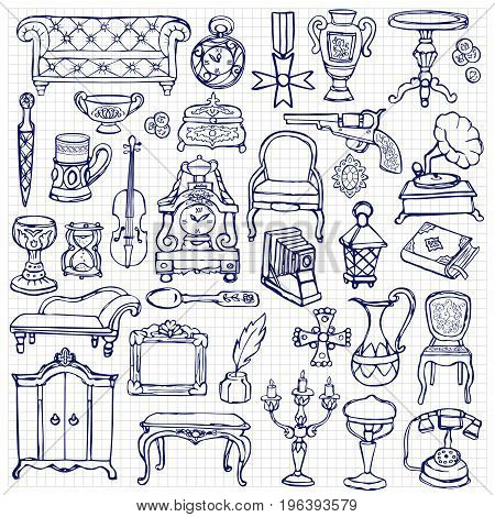 Antiques doodle hand drawn set. Pattern of retro objects, coloring page on squared background.