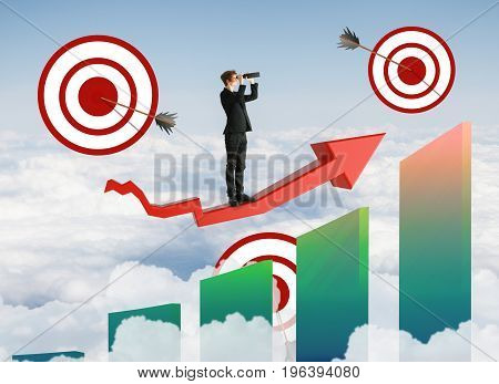 Abstract image of buisnessman looking into the distance on red chart arrow with targets and and bars on sky background. Aiming and research concept. 3D Rendering