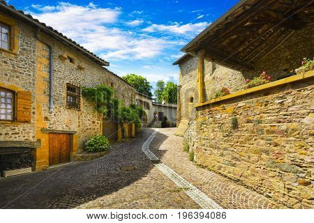 Small street of Ternand village in Beaujolais land in France
